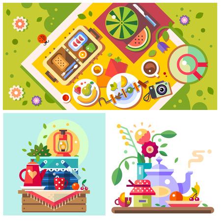 Picknick im Park. Sonnigen Tag in der Stadt. Gute Laune. Frühstück auf der Natur. Freunde treffen Familie Urlaub. Vector illustration Flach