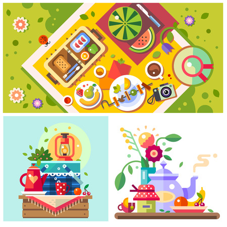 flower meadow: Picnic in the park. Sunny day in the city. Good mood. Breakfast on the nature. Meeting with friends family holiday. Vector flat illustration