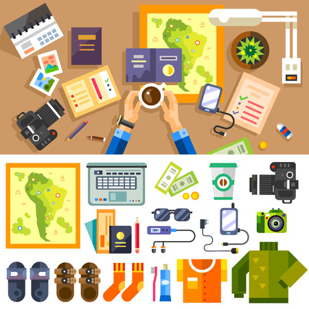 Plans to summer trip. Set of traveler: passport clothes shoes camera phone map. Leaving home work place in top view. Vector flat illustration