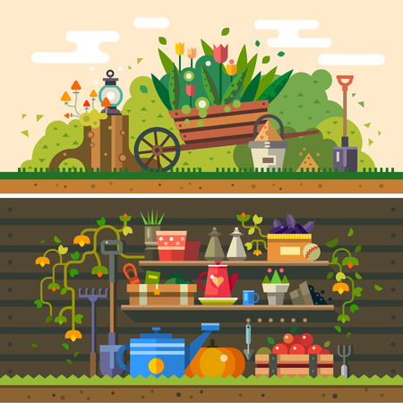 husbandry: Spring and summer. Work in the garden. cultivation of land flowers wooden wall warehouse tools and materials for planting. Vector flat illustration
