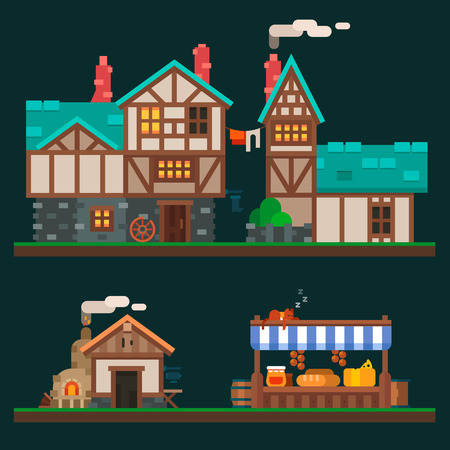 Old stone and wooden houses quiet life in the suburbs rurality and the shelves in the grocery market. Village and medieval city. Vector flat illustration and sprite for game