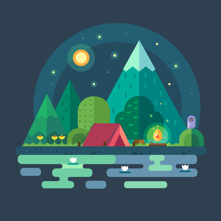 bonfire: Night landscape in the mountains. Starry sky. Solitude in nature by river. Overnight in a tent. Hiking and camping. Vector flat illustration