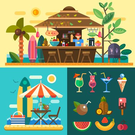 Nyári vakáció egy trópusi országban. Pihentető a strandon cafebar bungalók az óceán partján. Vector lapos illusztráció