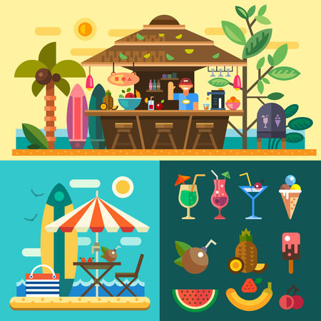 sunny beach: Summer vacation in a tropical country. Relaxing at the beach cafebar bungalows on the ocean coast. Vector flat illustration Stock Illustratie