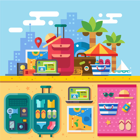Summer vacation in a tropical country. Relaxing at the beach cafebar bungalows on the ocean coast. Vector flat illustration Ilustrace