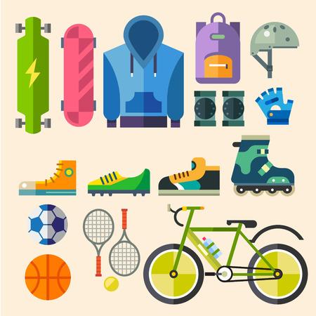 Одежда и обувь для активного отдыха. Оборудование для спорта. Экстремальные и командный вид спорта. Вектор иллюстрация плоским