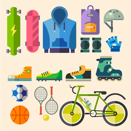 youth sports: Clothing and shoes for active recreation. Equipment for sports. Extreme and team sport. Vector flat illustration