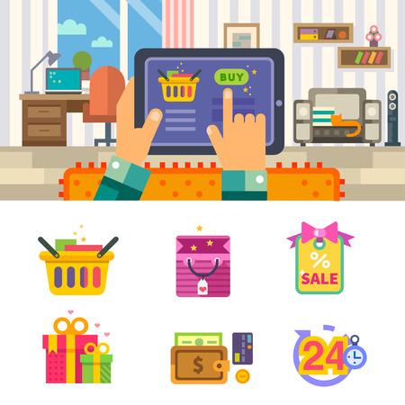 Nakupování v internetovém, aby on-line obchod až do domu. Muž s tabletem kupuje zboží přes internet. Vektorové ploché ilustrace a sadu ikon Ilustrace