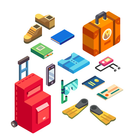Traveler set in warm countries in isometric view. Necessary elements of baggage in summer trip. Vector flat illustration