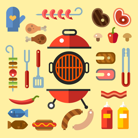 saucisson: BBQ party. Ensemble pour un pique-nique. Diff�rents types de viande et de poisson steaks saucisses. Les vacances d'�t�. Illustration Vecteur plat Illustration