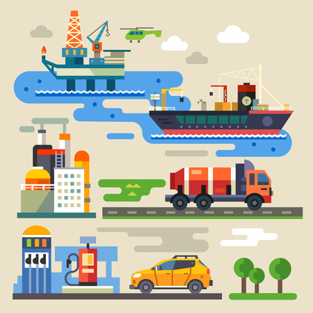 石油鑽井平台運輸汽車加油。工業和環境。顏色矢量插圖平