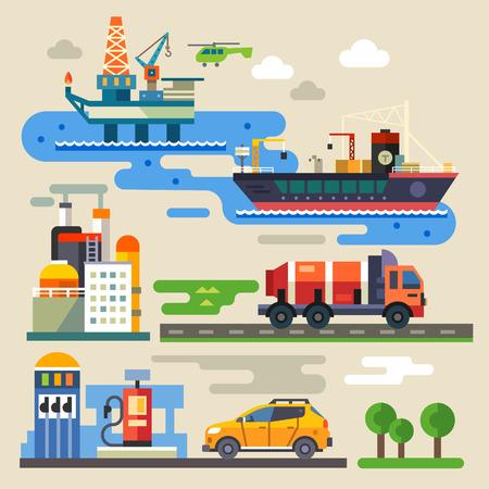 giao thông vận tải: Giàn khoan dầu xe vận tải tiếp nhiên liệu. Ngành công nghiệp và môi trường. Vector màu minh họa phẳng