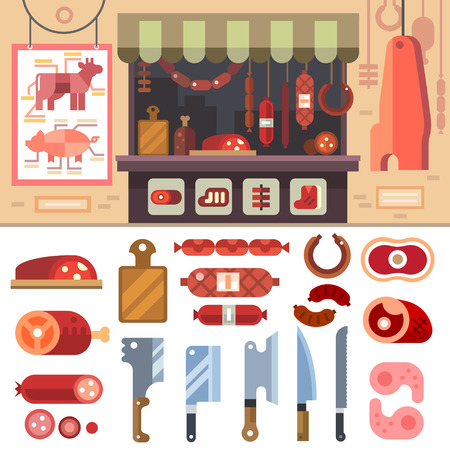 ovejas: Variedad de alimentos en la carnicería deliciosos productos cárnicos para la venta. Filetes y salchichas. Butcherin Esquema. Cuchillo Set Vector ilustración plana Vectores