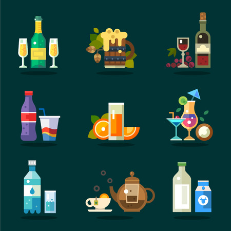 Vector drink icon set. Variety of flat serving beverages in ware