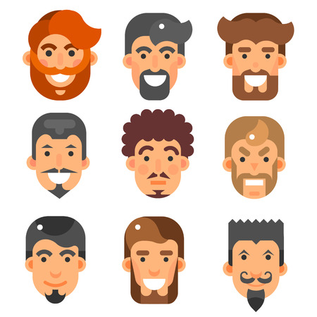 Vector flat bearded male heads set. People characters different smiled and angry faces stylish hairs men emotions illustrations