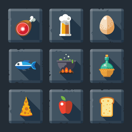 cheese bread: Cartoon vector flat relief game icon set on stone. Food and drink: meat eggs soup fish pizza cheese bread apple fruit beer wine juice.