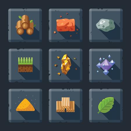 漫画ベクトル平らな救助ゲーム アイコン セット石の上。建設のためのリソース: 木製の石砂ブロック地面草の葉ダイヤモンド結晶