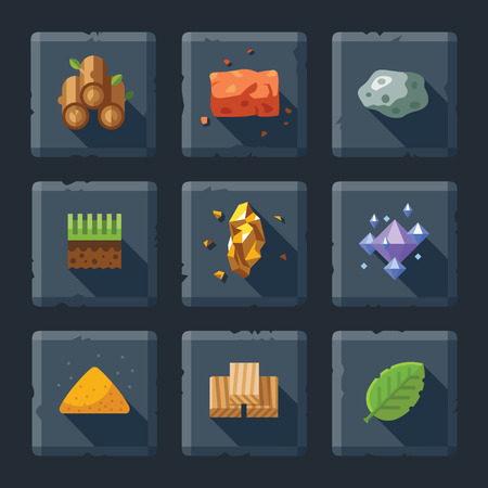Cartoon vector flat relief game icon set on stone. Resources for construction: wood stone sand brick ground grass leaves diamonds crystals
