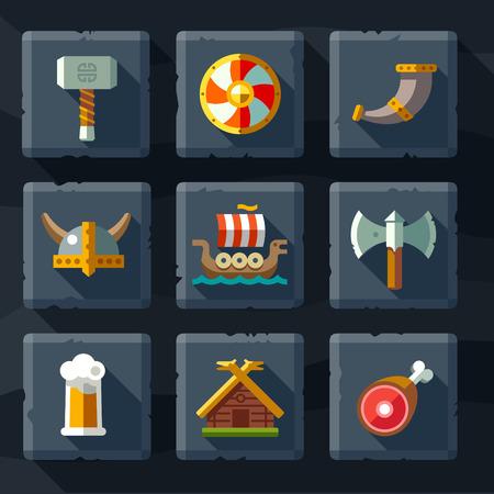 vikingo: Vikingos y artículos escandinavos la armas de alimentos plana icon set Vectores
