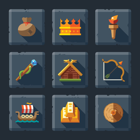 Cartoon vector flat relief game icon set on stone. Magic kingdom: crown house boat ship bag stick torch bow and arrows wood