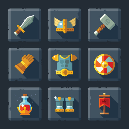 Cartoon vector flat relief game icon set on stone. Armor and equipment: sword shield helmet hammer gloves boots a magic elixir. Иллюстрация