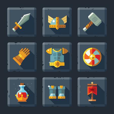 elixir: Vector de dibujos animados icono del juego relieve plano situado en piedra. Armadura y equipos: espada escudo casco guantes martillo patean un elixir m�gico. Vectores