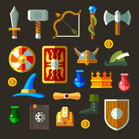 Arma gioco icone set piatta. Armi scudi pergamene magiche.
