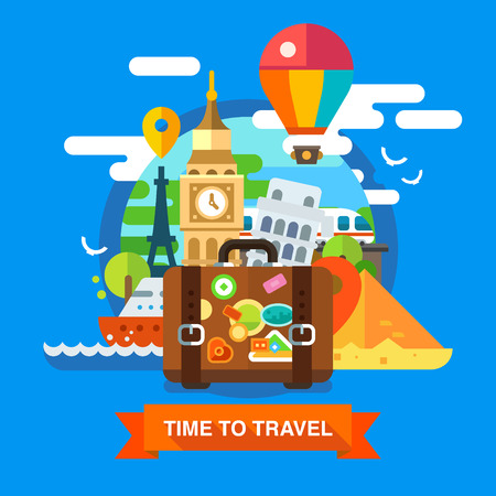 around: Traveller set on summer vacations. World landmarks: Big Ben, Eiffel Tower, pyramids in Egypt. Suitcase traveler. Vector flat illustrations