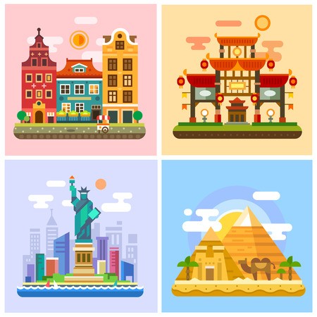 symbol tourism: Traveling to capitals of various countries. Parts of the world: Europe, Asia, America, Africa. Japan Sunset, deserts of Egypt, Statue of Liberty in New York landscapes. Vector flat illustrations