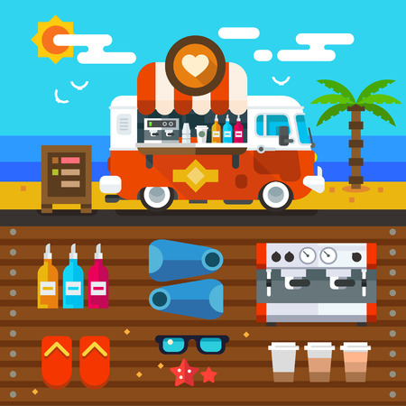 Summer time. Minivan cafe with ice cream, cocktails and coffee. Objects for entertainment on vacation by the sea on the beach. Vector flat illustration