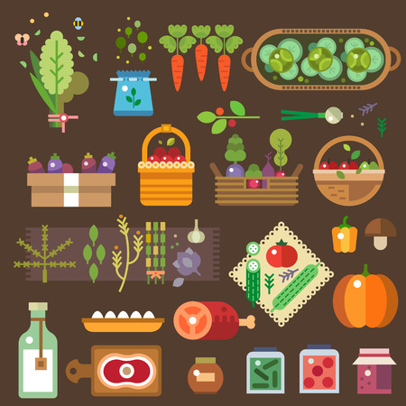Farmer's shop. Fresh vegetables from the garden. Eggs, milk, meat, jam. Home made food. Agricultural Products. Vector flat illustrations and icon set Vectores