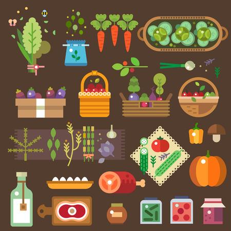 agricultor: Tienda del granjero. Las verduras frescas de la huerta. Huevos, leche, carne, mermelada. Comida casera. Productos Agr�colas. Ilustraciones vectoriales planas y conjunto de iconos