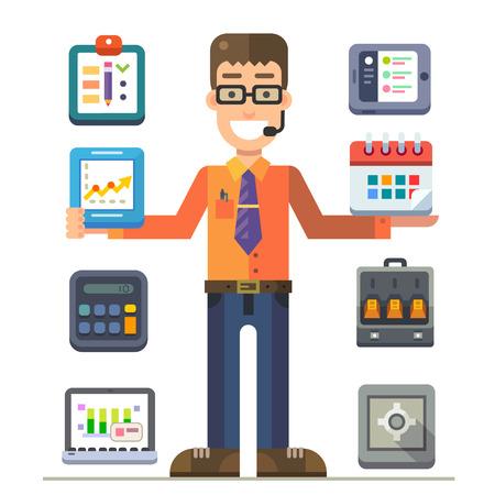 Office Manager při prezentaci. Tabulky a grafy pracovních ukazatelů, strategií pro zlepšení účinnosti. Vektorové plochý ilustrace a sadu ikon