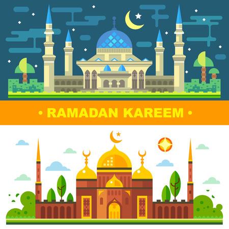무슬림을위한 Ramanadan 월. 이슬람의 전통. 교회와 사원 마법의 낮과 밤 풍경입니다. 벡터 평면 그림 일러스트