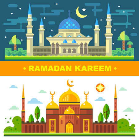 Ramanadan month for Muslims. The traditions of Islam. Magic day and night landscape with church and temple. Vector flat illustration