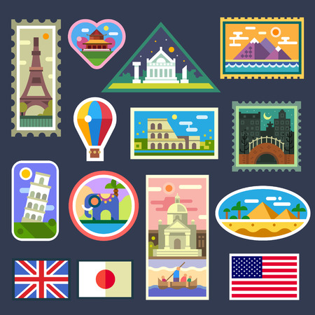 Stickers from various countries, Gifts from travelers. Memory to trips. Vector flat illustration, badges and emblems