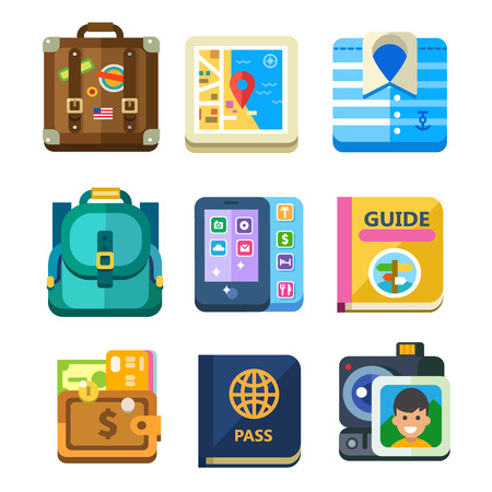 Set to vacation travel, tourist items icon set: passport and documents, map, phone, camera, purse with money and bank cards. Vector flat illustrations