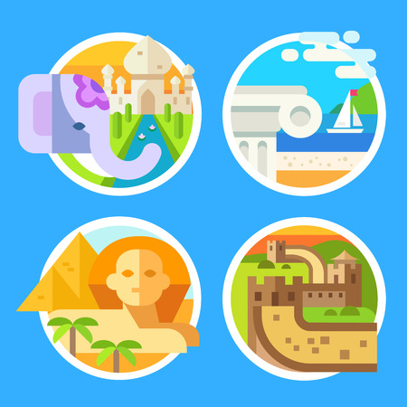 great wall: World landmarks, parts of world - the Great Wall, Temple of Greece, Great Pyramid of Giza in Egypt, the Taj Mahal and Elephant in India. Vector flat illustrations, badges and emblems Illustration