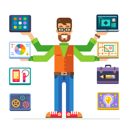 Art Director, man characters with different devices for business, management, marketing and successful work. Color vector flat illustration and icons
