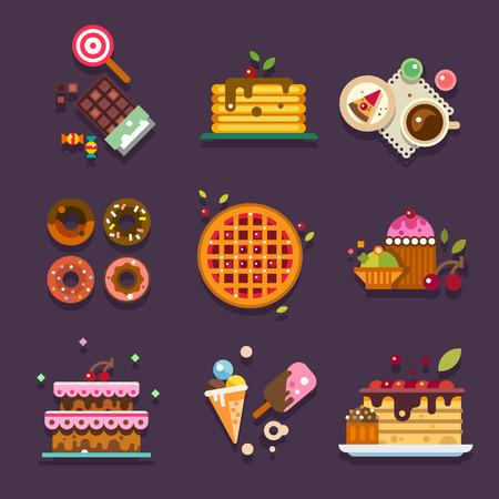Bakkerij. Soorten zelfgemaakte snoep en gebak en diverse heerlijke gerechten. Paradijs voor de zoetekauw. Vector flat illustratie