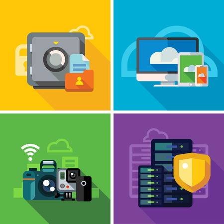 Cloud storage, transmission and security. omputer equipment, photo and video files. Internet security, database. Color vector flat illustration and icon set