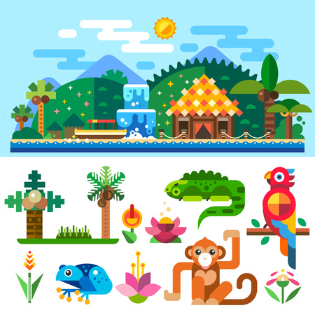 Tropical landscape, bungalows in the mountains and palm trees near the ocean. Summer beach. Tropical animals: parrot, monkey, frog