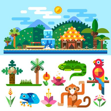 grenouille: Paysage tropical, les bungalows dans les montagnes et de palmiers près de l'océan. Summer beach. Animaux tropicaux: perroquet, le singe, grenouille Illustration