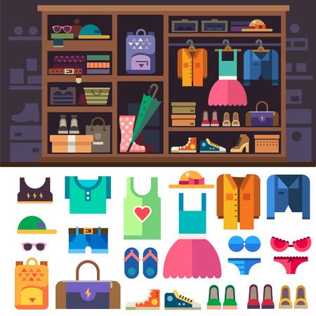 Šatní skříň, položky osobního stylu pro ženy. Oblečení a obuv pro sport a odpočinek žen. Skříň s policemi a zásuvkami. Vektorové byt ilustrace Ilustrace