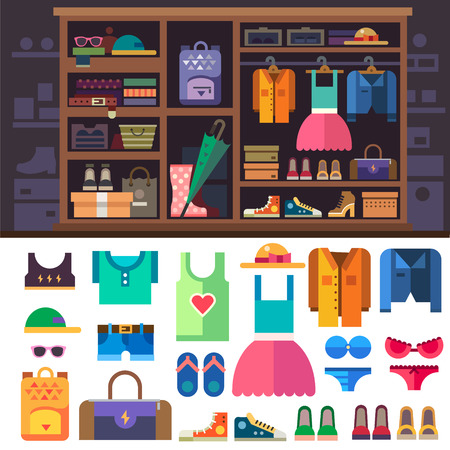 closet: Wardrobe, items of personal style for women. Womens clothes and shoes for sports and rest. Closet with shelves and drawers. Vector flat illustration Illustration