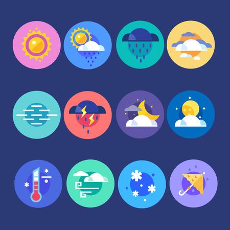 noche y luna: El tiempo icono conjunto plana. Previsión del tiempo para la selección de especies todos los días, en cualquier época del año