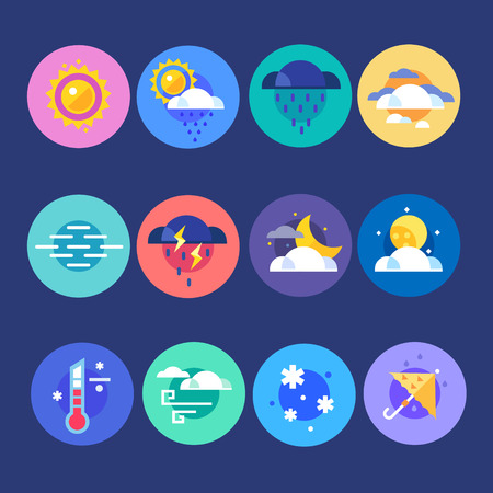 cloudy weather: Weather flat icon set. Weather forecast for selection of species every day, at any time of year