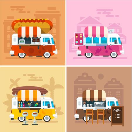 咖啡廳的車在街道上。熱狗,酒吧,冰淇淋,咖啡輪子店。矢量彩色平板插圖