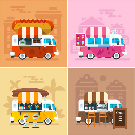 street: Cafe car on the street. Hotdog, bar, ice cream, coffee shop on wheels. Vector color flat illustrations