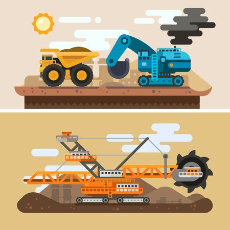 mining truck: Máquinas para la excavación de cuevas. Proceso de construcción. Paisaje industrial, metalurgia minería. Vector ilustración plana